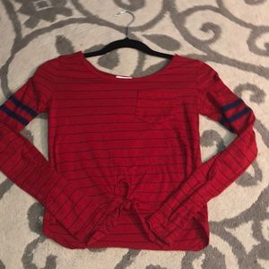 Red and Blue Striped Baseball Tee